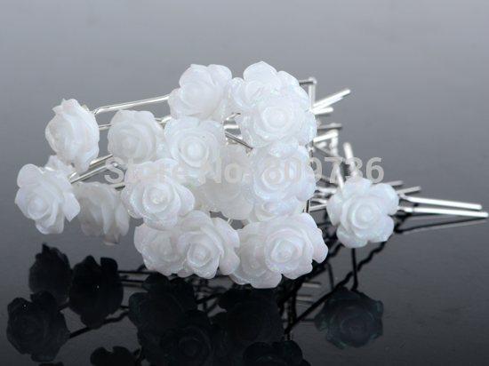 Шпильки, роза с блеск., белая, 6 см